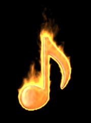Music note burn in fire. 3D Icon isolated on black