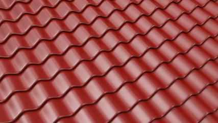Brown pattern of roof tile 3D. Architecture detail