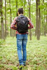 Teenager boy with school bag