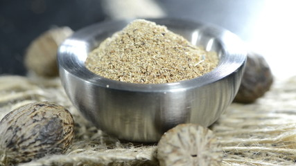 Fresh grated Nutmeg (not loopable) close-up video
