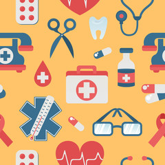 Medical seamless pattern flat style with health care objects