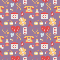 Medical seamless pattern flat style with healthcare objects
