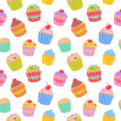 Cute seamless pattern with muffins and cupcakes