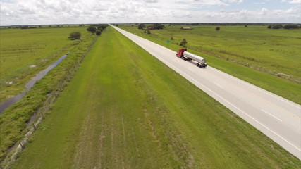 Aerial video of a truck on the highway