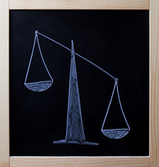 Tipped scales drawn on blackboard