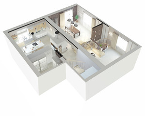 Plan view of an apartment. 3d concept