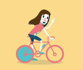 Young girl riding a bike. flat vector illustration