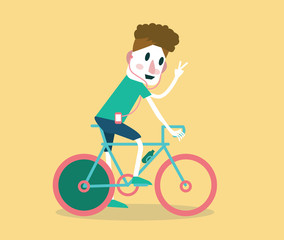 Young man riding a bike. flat design. vector