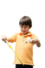 Little sibling boy holding badminton racket for play