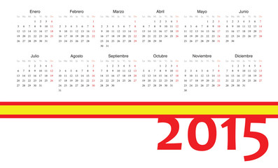 Spanish 2015 year vector calendar