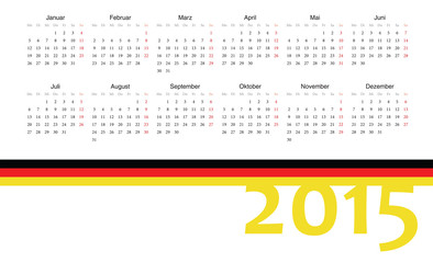 German 2015 year vector calendar