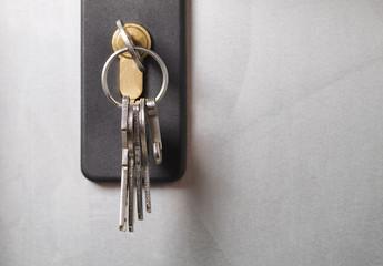 Keys stuck in a lock.