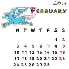 color horse calendar 2014 february