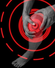 Pain in the male knee joint, pain area of red color