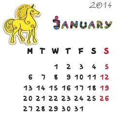 color horse calendar 2014 january