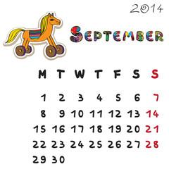 color horse calendar 2014 september