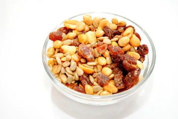 Nutty Trail Mix in a Round Clear Glass Bowl
