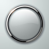Fototapety Glossy button, transparent with metallic elements