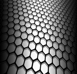 Abstract background, 3D hexagons black and white