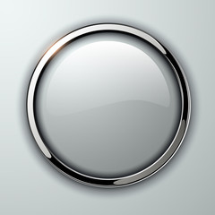 Glossy button, transparent with metallic elements