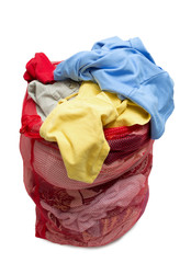 Big Red Mesh Laundry Bag Overflowing With Clothes