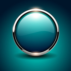 Shiny button blue glossy metallic