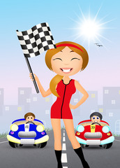 girl with the checkered flag