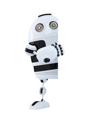 Robot standing behind blank banner. Isolated. Clipping path