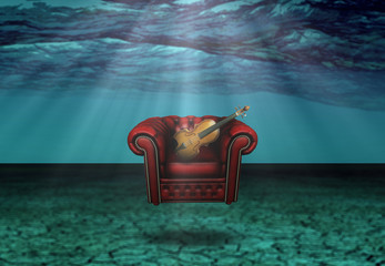 Comfort Chair with Violin Under the Waves