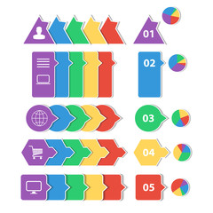 Flat design geometric info graphic templates.