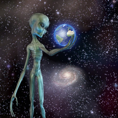 Alien being ponders earth