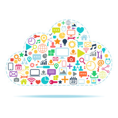 Cloud Computing color vector illustration.