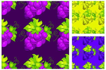 Seamless pattern with cluster grapes and green leaves on