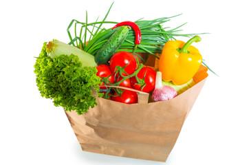 paper bag brim full of healthy dietary food