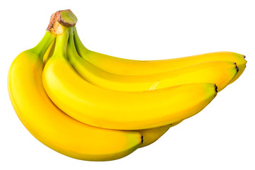 some bananas in a bunch on a white background