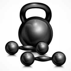 Metallic kettle bell and two dumbbells on white, vector
