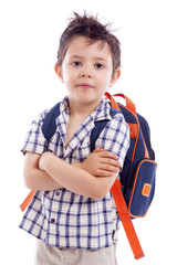 Portrait of school kid standing with arms crossed, isolated on w
