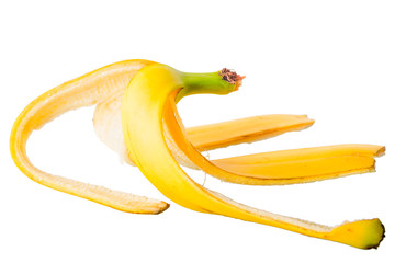 banana skin on a white background close-up