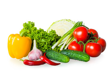 fresh ripe vegetables on white background