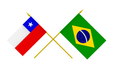 Flags, Brazil and Chile