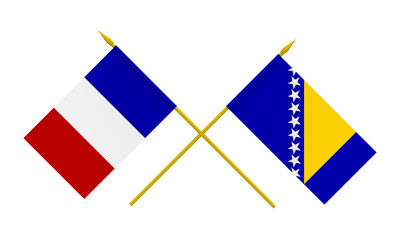 Flags, France and Bosnia and Herzegovina