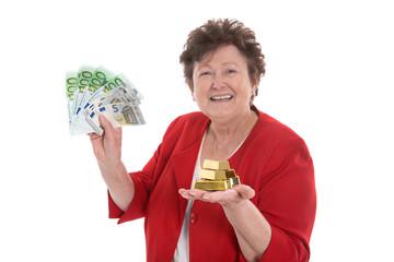 Rentnerin: Geld Konzept mit Gold und Euro