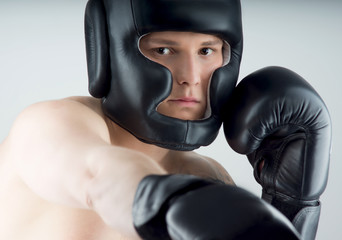 boxer with black gloves