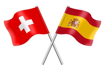 Flags: Switzerland and Spain