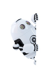Robot looking at blank banner. Isolated. Clipping path