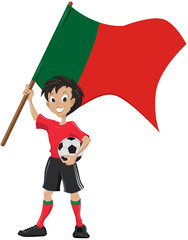 Happy soccer fan holds Portugal flag