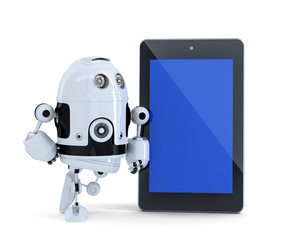 Robot with tablet pc. Isolated. Clipping path