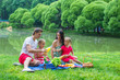 Happy family of four picnicking in the park on summer day - 66573282