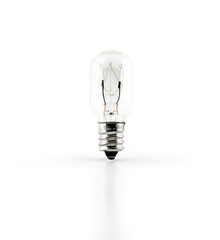 Light bulb and reflection on white background