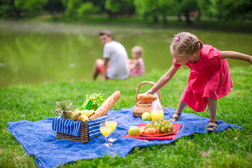Adorable little girl have fun on picnic